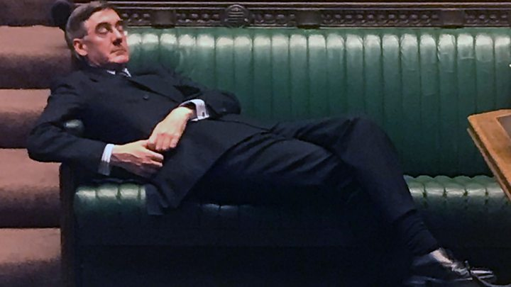 Jacob Rees-Mogg slouching